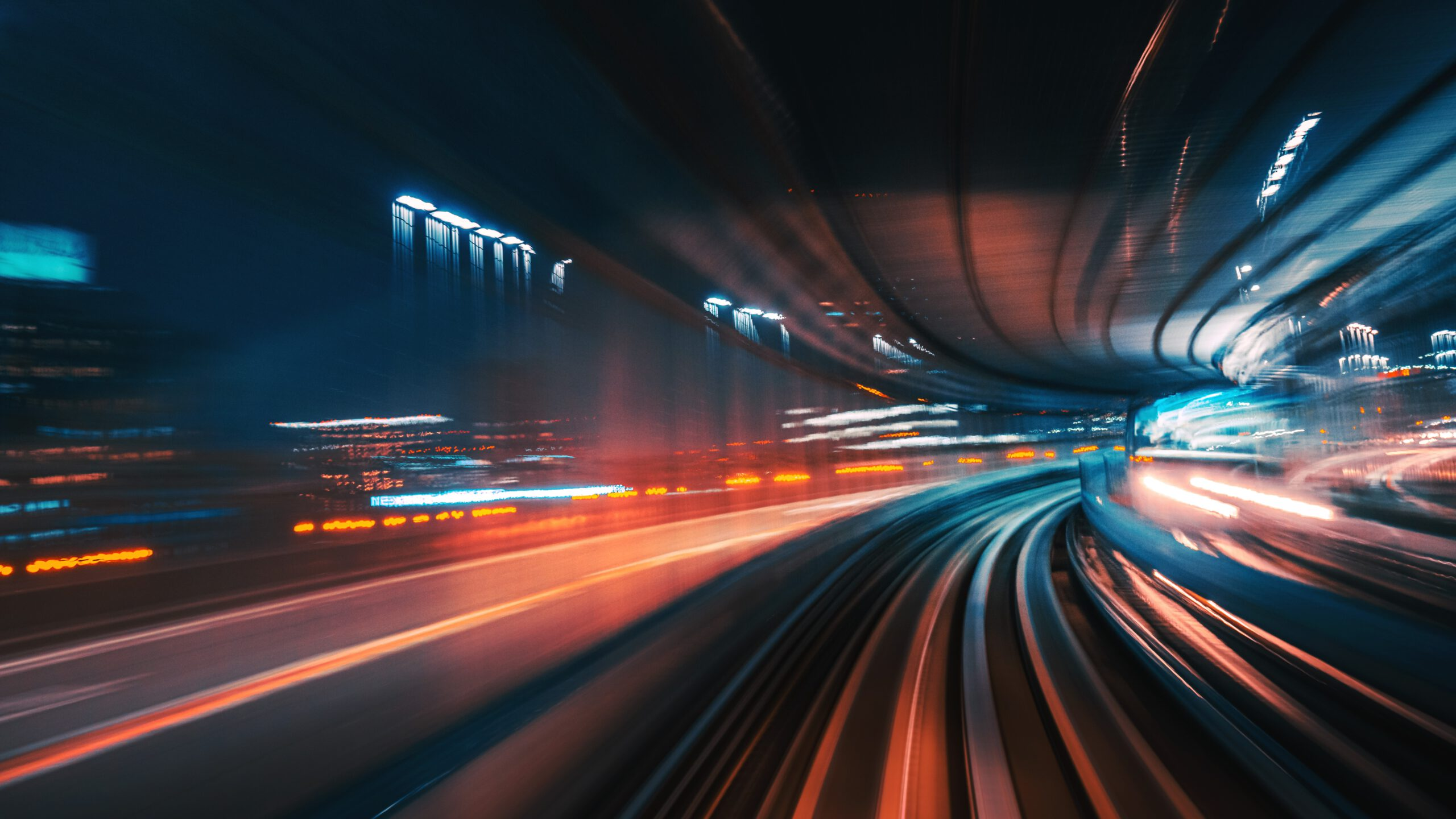 High Speed Motion Blur driving through a tunnel at night  Futuristic High Speed Monorail Train Tokyo, Japan