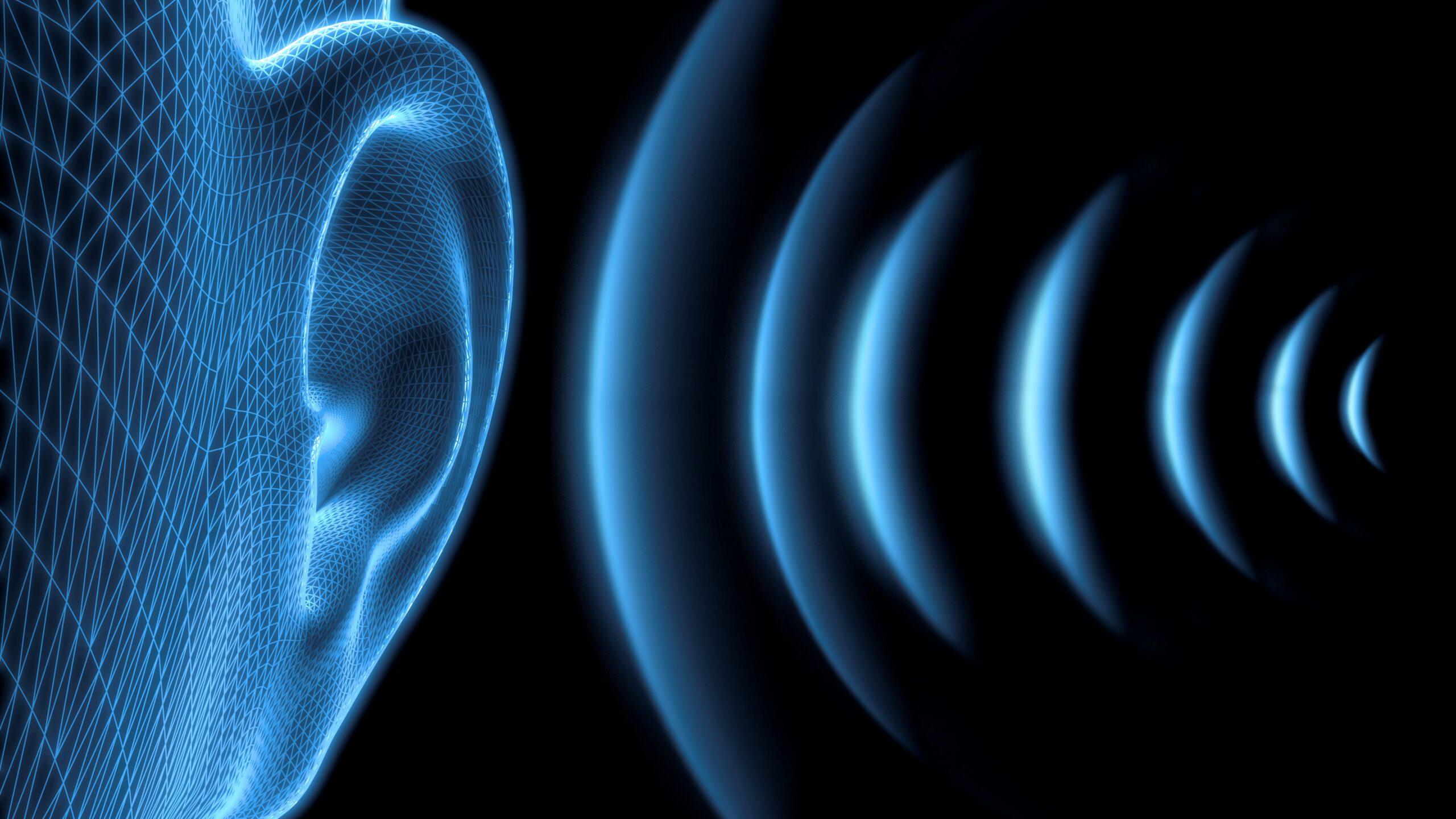 Blue Ear with sound waves - 3D illustration